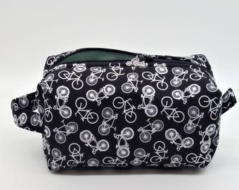 Bicycle Travel Pouch, Bike Ditty Bag, Bikes Dopp Kit, Toiletry Bag, Bicycles Pencil Case, Makeup Bag, Zip Pouch, Gifts for Teens,