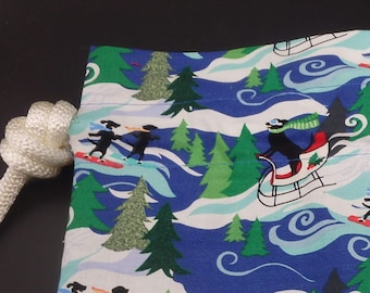 snowboarding bag holiday hounds christmas dogs gift bag extra large cloth gift bag reusable gift wrap christmas wrap choose size