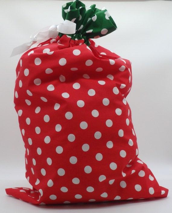 Red & Green Bag Polka Dot Bag Drawstring Bag Cloth Gift   Etsy