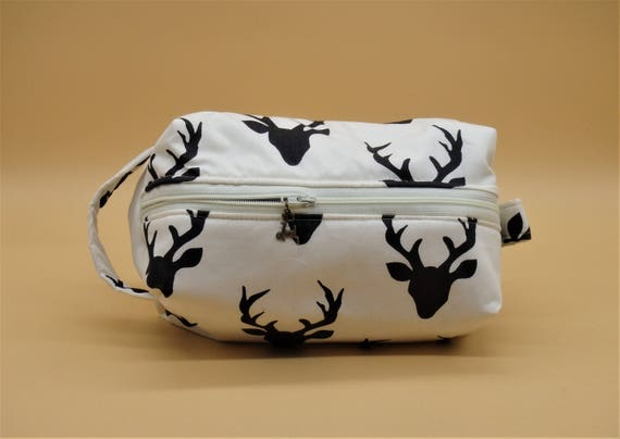 Canvas purse Antler,Bohemian Deer Head Skull,Pouches Gifts with Zip and Liner