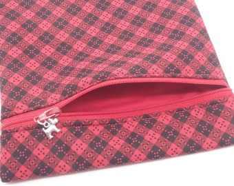 Red Plaid Pouch, Black & Red Zip Bag, Scottie Bag, Gadget Case, Pencil Case, Zippered Pouch - One of a Kind