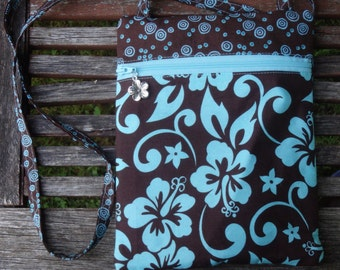 Shoulder Purse, Floral Bag, Cross-Body Purse, Hibiscus Bag, Gifts for Her, Gifts Under 20, Passport Case, Tropical Vacation Bag, Runaround