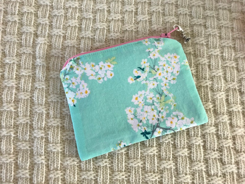 Minty green and blossom zipper coin purse notions pouch