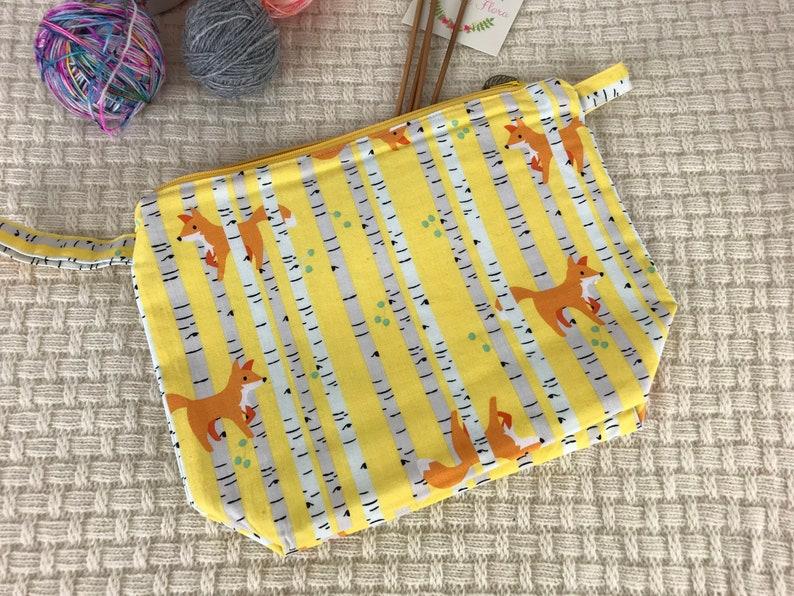 Autumn Foxes project bag zipper pouch