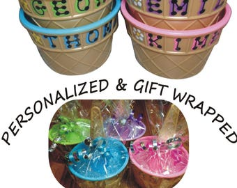 """Personalized Plastic Ice Cream Party Favor / 4"""" wide x 2.5"""" tall / Ice Cream Dish with spoon - personalized & wrapped / sprinkles party"""