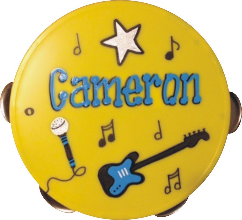Personalized Tambourine  5 / Rock Star Party Favor / Yellow / Blue Design