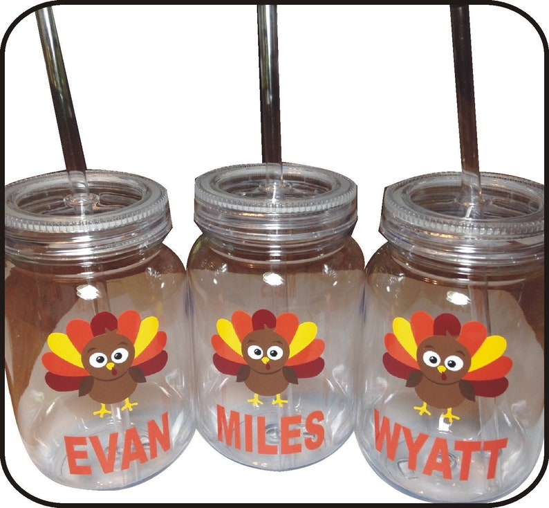 Personalized Thanksgiving Plastic Mason Jar with Straw / image 0