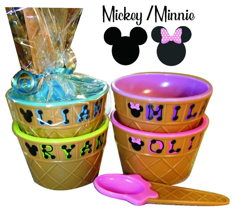 Mickey Minnie Ice Cream Bowl Personalized Party Favor image 0