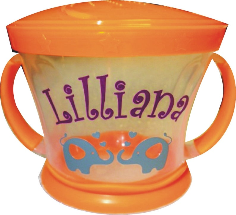 Personalized Elephants Kissing Snack Cup / Munchkin Snack image 0