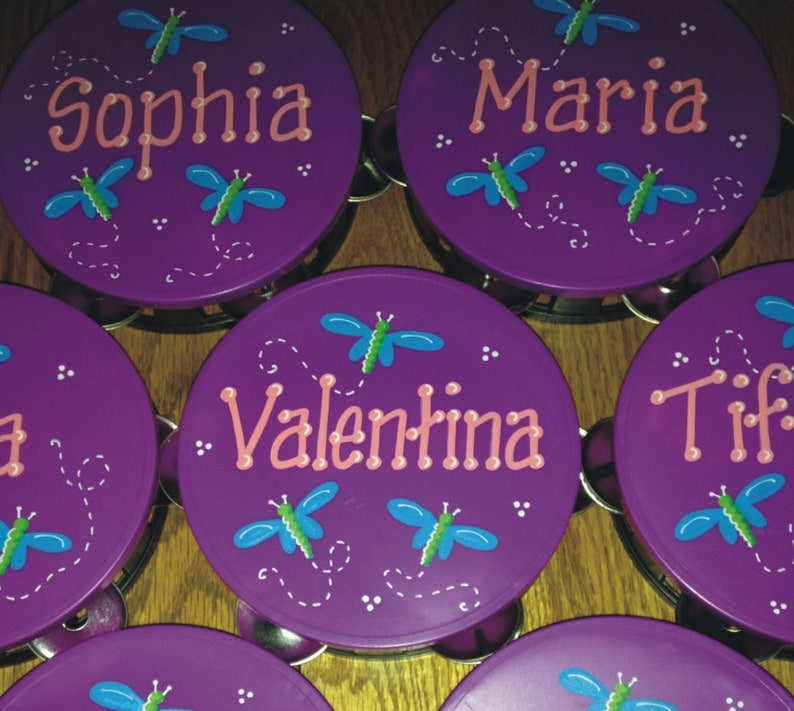 Dragonfly PERSONALIZED design tambourine  5 inch diameter image 0