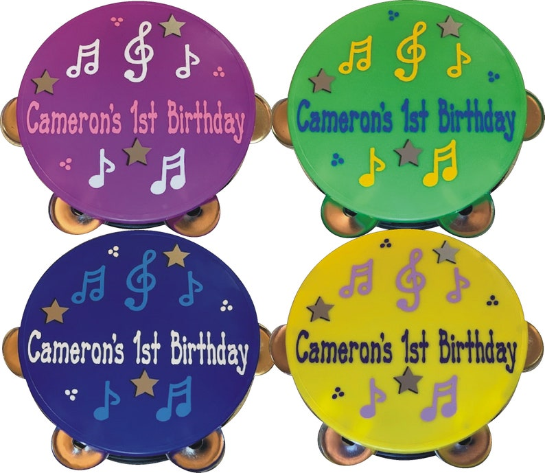 Tambourine Personalized & Gift Wrapped / Music themed party / ASSORTED