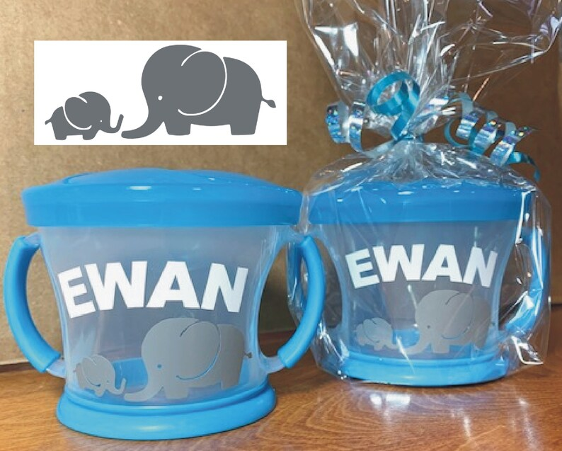 Personalized Mommy & Baby Elephant Snack Cup / Munchkin Snack image 0