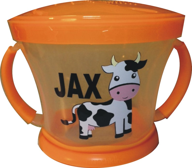 Personalized COW Snack Cup / Snack Catcher / Munchkin Snack image 0