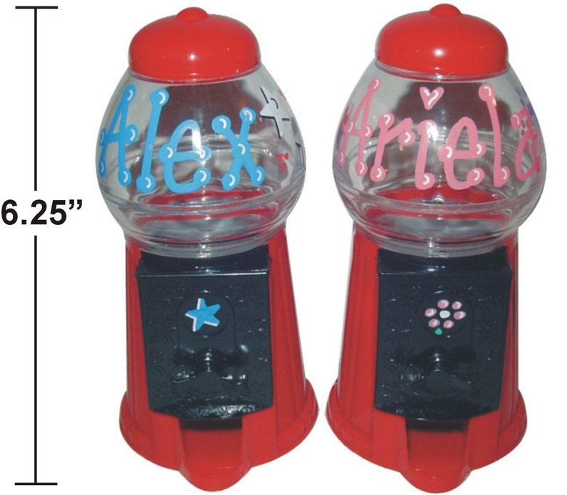 Personalized Gumball Machine / Bank / 6.25 TALL / Candy image 0