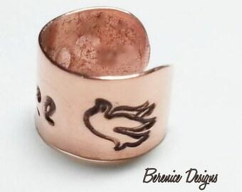 Copper Ear Cuff Peace Dove