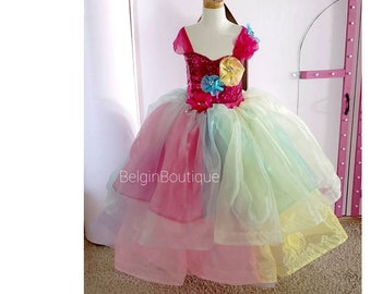 Pageant OOC Rainbow Unicorn Casual wear Birthday Flower Girl Photo shooting custom size 12m up to 10 yrs teen adult size available