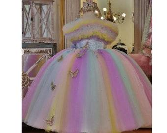Pageant Rainbow Unicorn Butterflies OOC Casual wear National wear Glitz custom size 12m up to 10 yrs