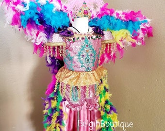 Pageant OOC Mardi Gras Princess Glitz top of the line custom size 6/9m up to 10 yrs teen adult size available to order
