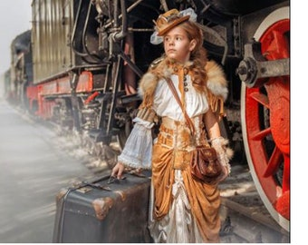 Steampunk Time traveler little girl Victorian Flower Girlcostume kids child Halloween Era Costume custom size 12m up to 10 yrs teen adult