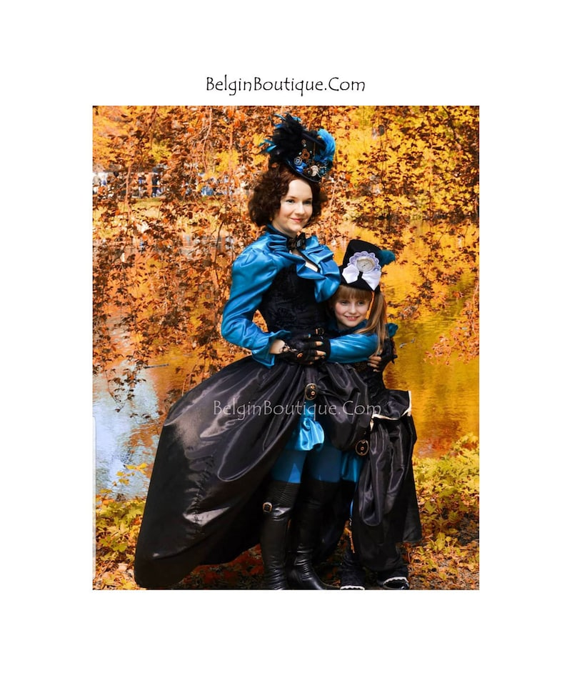 Steampunk Mother and daughter Traveler ladies Victorian Flower image 0