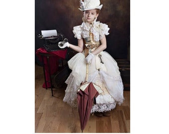 Steampunk wedding Little girl Dress fashion traveler bride Halloween Cosplay flower girl first communion custom sz 12m - 10 yrs teen adult