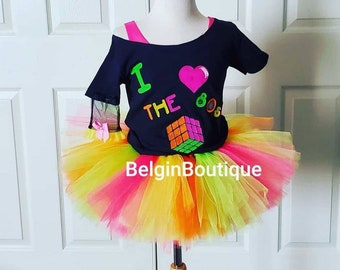 Pageant OOC Glow in the Dark 80's Black Light up hand painted custom size 12m up to 10 yrs teen and adult size available
