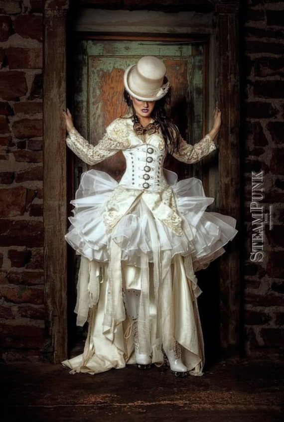 Steampunk Wedding Dresses | Vintage, Victorian, Black Steampunk Bride Wedding Dress Cosplay Halloween Costume custom size Teen and adult size $550.00 AT vintagedancer.com