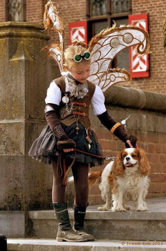 Steampunk Kids Costumes | Girl, Boy, Baby, Toddler Steampunk travel little lady custom Halloween costume Cosplay steampunk butterfly Pageant costume OOC 12m up to 10 yrs $199.99 AT vintagedancer.com