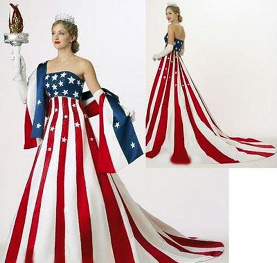 Pageant Rwb Patriotic Usa America Flag Dress Statue Of Liberty Etsy
