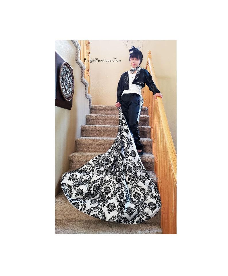 Pageant Runway Glitz swarovski crystals white black attire image 1
