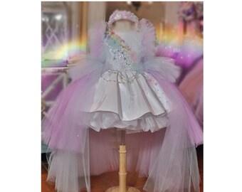 Pageant Rainbow Unicorn Diva Gown OOC Casual wear National wear Flower Girl First communion Pageant Coronation dress custom size 12m 10 yrs