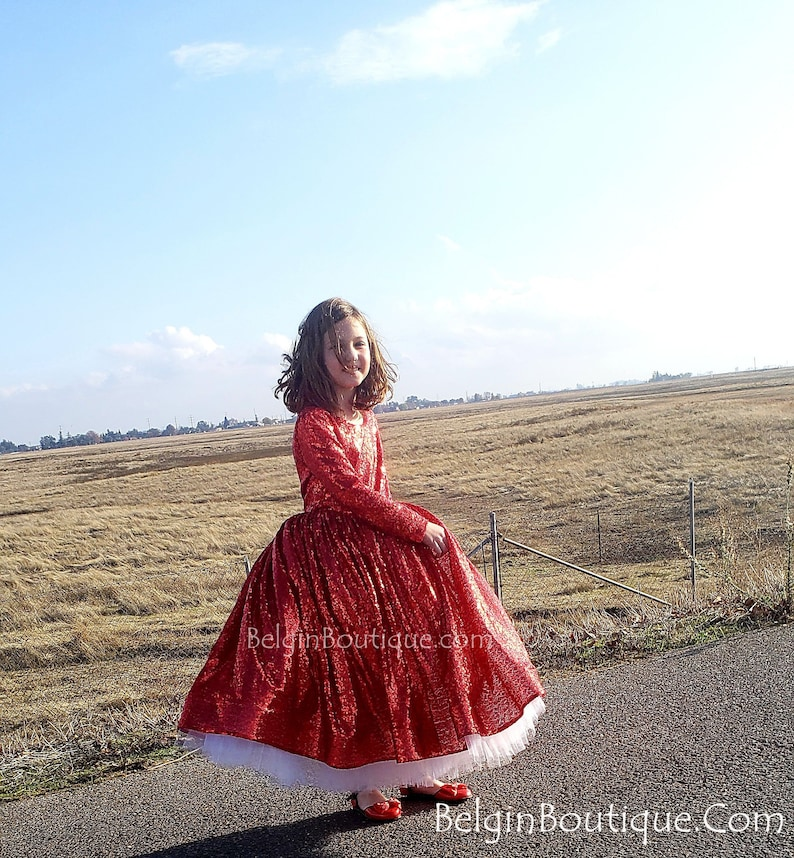 Christmas Red Flower Girl Haute Couture Pageant Christmas wear image 0