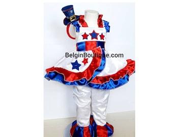 Pageant Patriotic rwb American Girl USA flag Dress ooc Captain America USA girl Cosplay USA Custom sz 12m up to 10 yrs teen adult