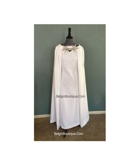 Pageant Costume prom Game of Thrones Daenerys Meereen Dress White Dragon Necklace Gown With Cape Cosplay Halloween Costume  custom size