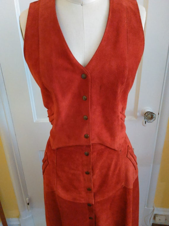 1970s Suede vest and skirt - image 2