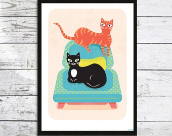 Two friends Cat Print - A4 Cat print - Cat picture - Cat lover gift - Cat Print - Cats