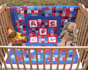 Handmade ZIggy at Play, Baby/Toddler Quilt, Keepsake Red white and Blue  Crib Bedding ***Free Shipping in USA***
