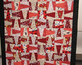 Dog Lovers Patchwork Keepsake Quilt Custom Lap Quilt Dog Fabrics 48.5 x 64.5 inches ***Free Shipping in USA***
