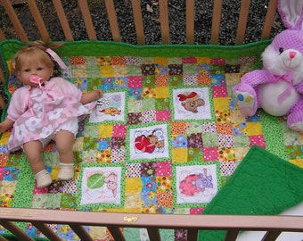 Handmade Colorful Baby Quilt with Unique Embroidery Panels of Cute Animals ***Free Shipping in USA***