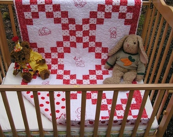 Handmade Double Irish Chain Baby Quilt Toddler Bedding Red & White Quilt with Embroidery Panels of Redwork Teddy Bears  Free Shipping in USA