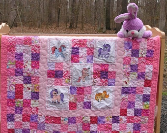 My Little Pony Embroidered Keepsake Baby Blanket Pink & Purple Toddler Quilt ***Free Shipping in USA***
