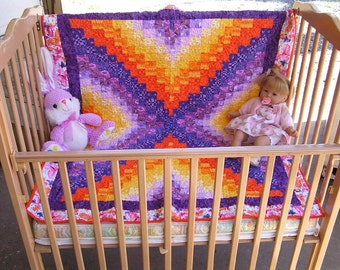Handmade Colorful Bargello Baby Toddler Quilt, Purple, Orange and Yellow with Butterfly Border  *** Free Shipping in the USA ***