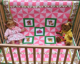 Handmade Teddy Bear Quilt with 5 Embroidery panels of cute Teddy Bears. Pink and Green Toddler Blanket ***Free Shipping in USA***