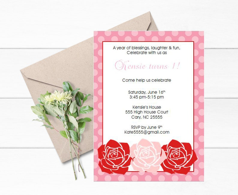Garden Party Invitations Set Of 12 Theme Rose