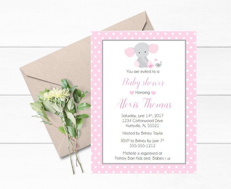 Elephant Baby Shower Invitation Elephant Themed Party Etsy