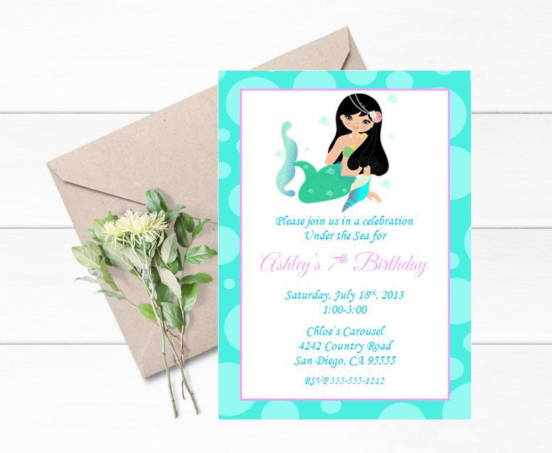 Mermaid Birthday Invitations Set Of 12 Themed Party Under The Sea Invite