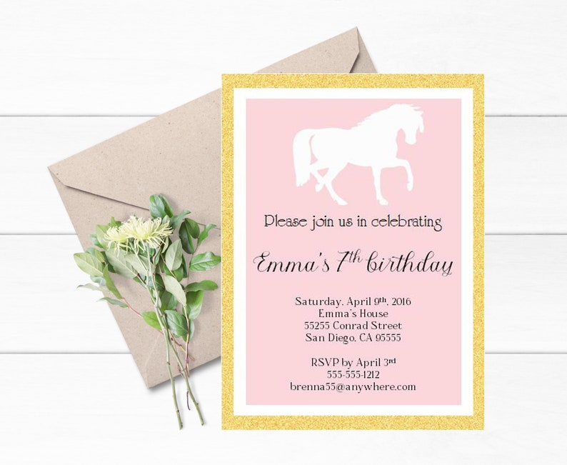 Horse Birthday Invitation Set Of 12 Pony Birthday
