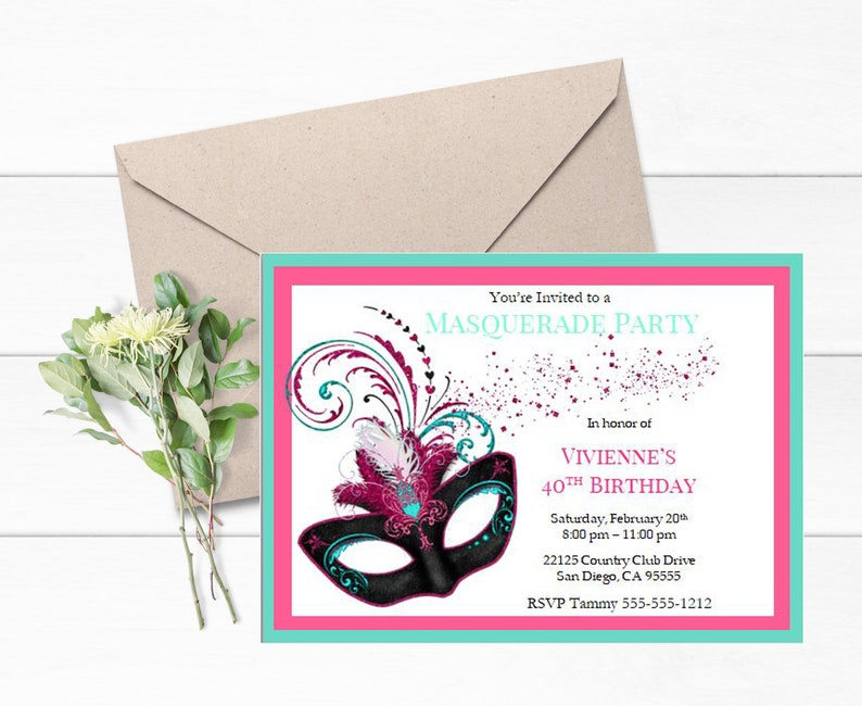 Masquerade Invitation Mardi Gras Party Theme