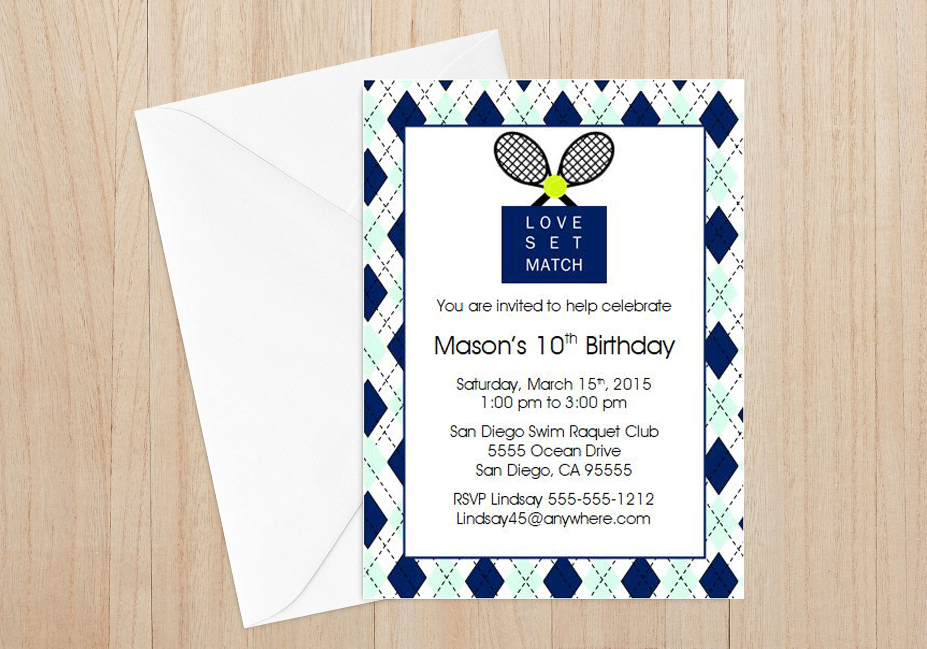 Tennis Birthday Invitations Set of 12 Tennis Themed Party | Etsy