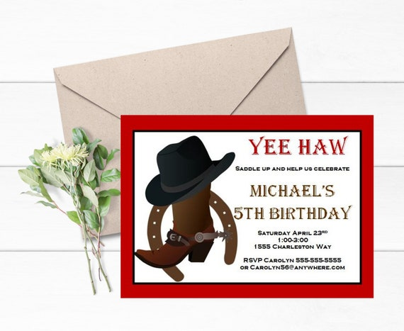 Cowboy Boot Invitations Set Of 12 Themed Party